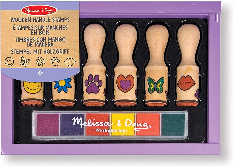 Melissa & Doug- Happy Handles Sellos con Mango de Madera, Multicolor (12407): Amazon.es: Juguetes y juegos