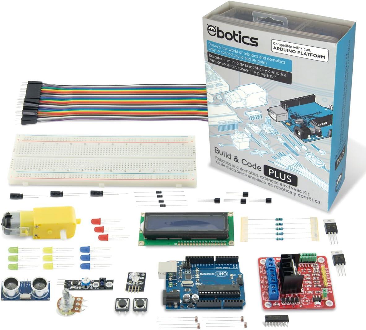Ebotics Build&Code Plus, Kit de Creación electrónica y Programación ampliado para Arduino, niveles intermedio y avanzado