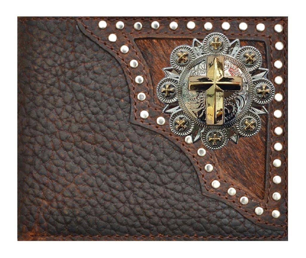 Custom Crosss and Berries Bi-fold Wallet Hair on Hide Black