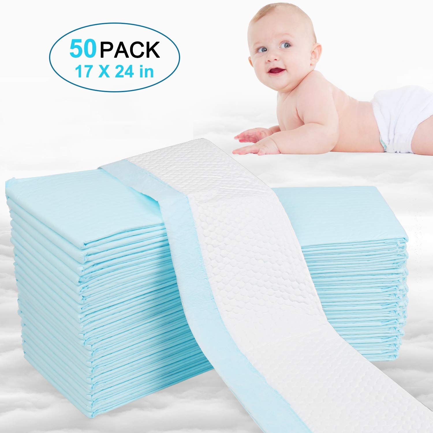 OBloved Disposable Underpads for Baby, 50 Pack(18×24 inch), Leak-Proof Breathable Incontinence Diaper Changing Pad, Heavy Absorbency, and Soft Cover for Bed (Blue) by OBloved