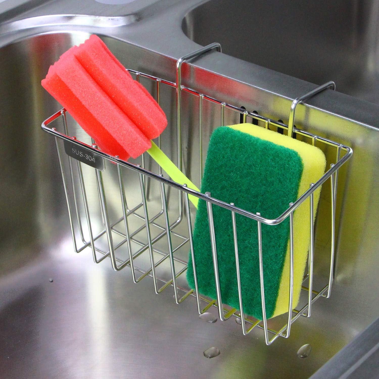 Amazon Com Kitchen Sponge Holder Aiduy Sink Caddy Brush Dishwashing Liquid Drainer Rack Stainless Steel Kitchen Dining