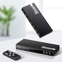 4K @60Hz Switch HDMI schakelaar met afstandsbediening Ippinkan 5 ingangen en 1 uitgang ondersteunt de hoogste resolutie…