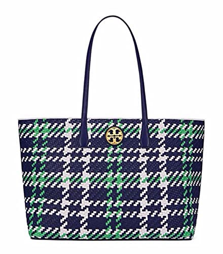 4c4bb78a75a Amazon.com  Tory Burch Duet Woven Leather Tote (Royal Navy   Court Green    New Ivory)  Shoes