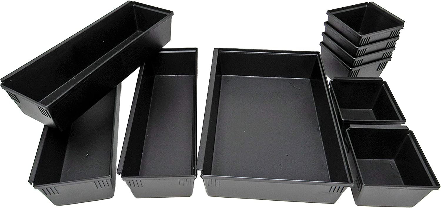 Dial Industries B689K Drawer Organizer Tray Set, Black