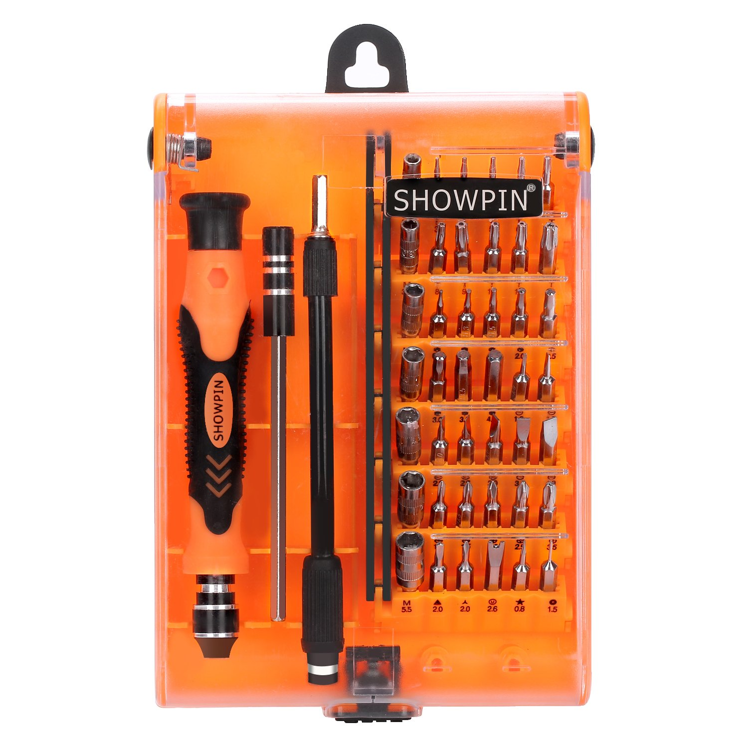 Showpin 45in1 Mini Precision Screwdriver Set Small Torx Set with Case with Tweezer Handle and Hex Bits,Professional Repair Tool Kit with 42 Magnetic Bits,for PC,iphone,Tablet,Laptop,Camera,Console