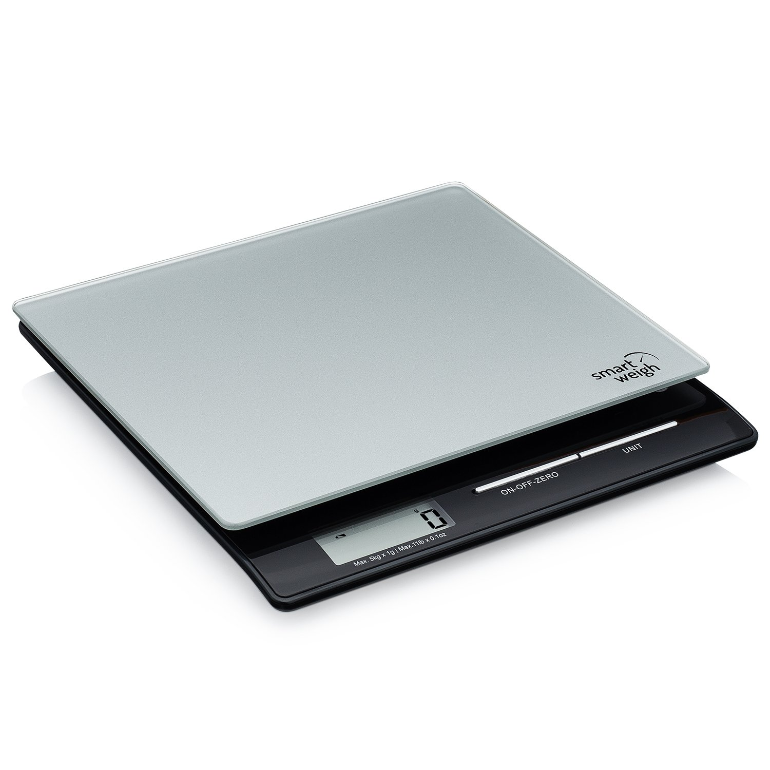 Smart Weigh Professional USPS Postal Scale with Tempered Glass Platform, Multiple Weighing Modes and Tare Function, Silver Shipping Scale, Platform Scale, 11lb/5kg