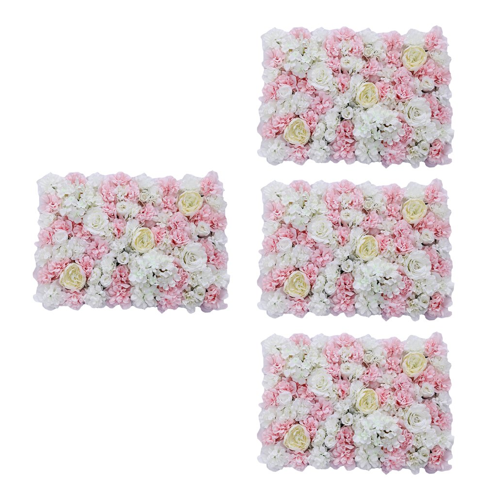 MagiDeal 4Pieces Artificial Silk Rose Hanging Flower Wall Panels for Home Party Wedding Decor and Other Various Events - Pink