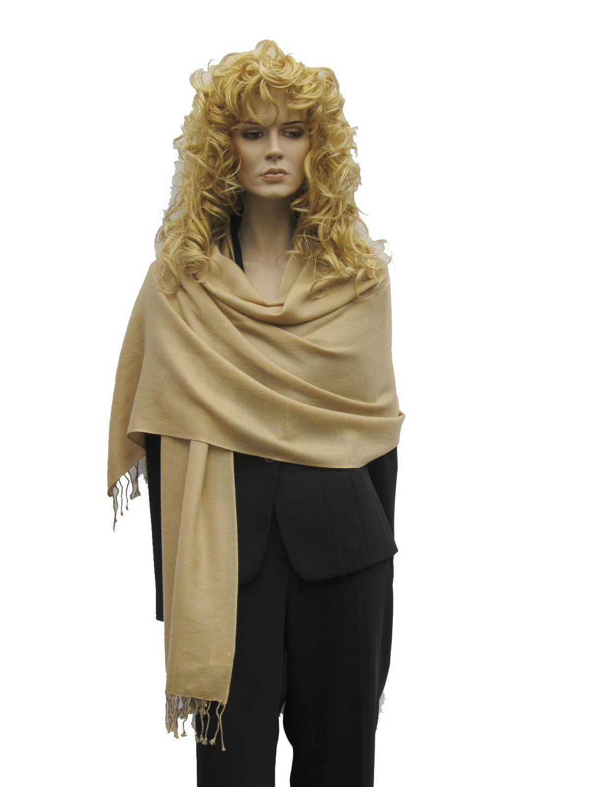 SCARF, CASHMERE SHAWL (2 PLY PURE PASHMINA) from Cashmere Pashmina Group (Camel)
