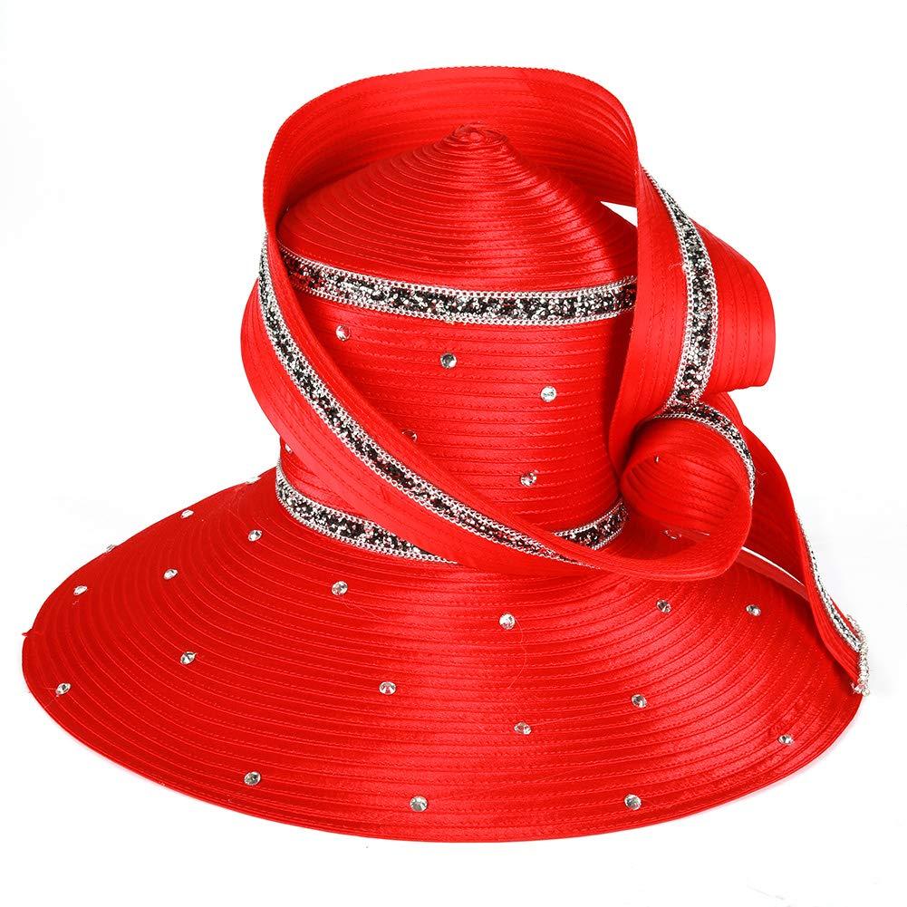 Koola Black Women Church Kentucky Derby Wide Brim Wedding Cocktail Party Hats (Red) by Koola (Image #3)