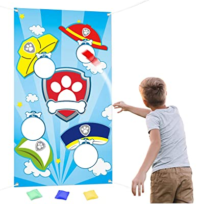 PANTIDE Paw Dog Patrol Toss Games with 4 Bean Bags, Puppy Party Games Fun Indoor Outdoor Games, Paw Dog Patrol Themed Birthday Party Decoration Supplies, Great Throwing Games Large Banner for Kids and: Toys & Games