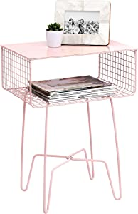 mDesign Modern Farmhouse Side/End Table - Metal Design - Open Storage Shelf Basket, Hairpin Legs - Sturdy Vintage, Rustic, Industrial Home Decor Accent Furniture for Living Room, Bedroom - Light Pink