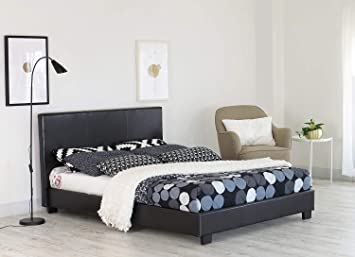Home, Furniture & DIY exclusive bed-world 4ft6 black faux leather bed frame