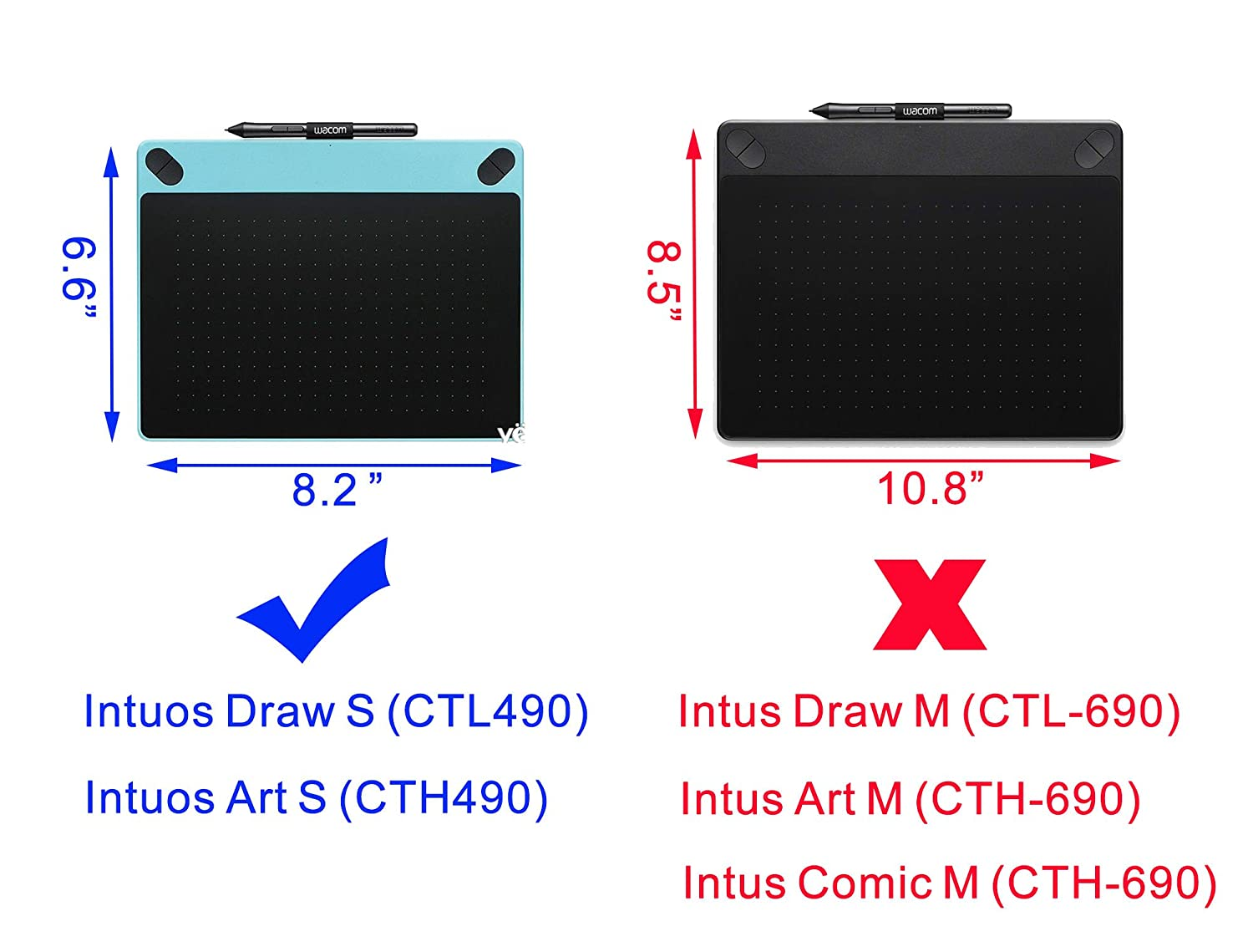 Hard Case For Wacom Intuos Draw Art Comic Photo Bamboo Small 490 Series Drawing And Graphics Tablet By Co2crea Size S