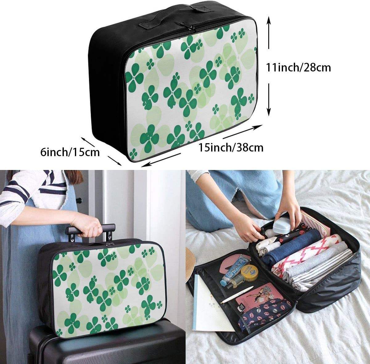Travel Bags Lucky Clover Portable Foldable Trolley Handle Luggage Bag