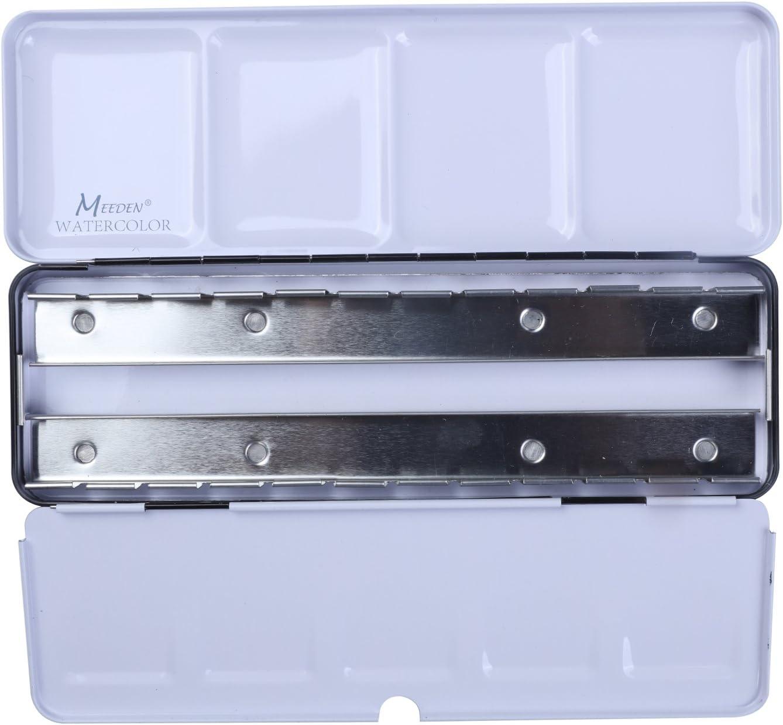 MEEDEN Acuarela Lata Caja de Metal Vacía, con 24 Mitad Sartenes: Amazon.es: Hogar
