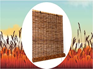 Natural Reed Roller Shades Bamboo Roll Up Window Blind for Outdoor Home,Office,Kitchen,Indoor,Light Filtering Roman Shade Blackout Curtains 30