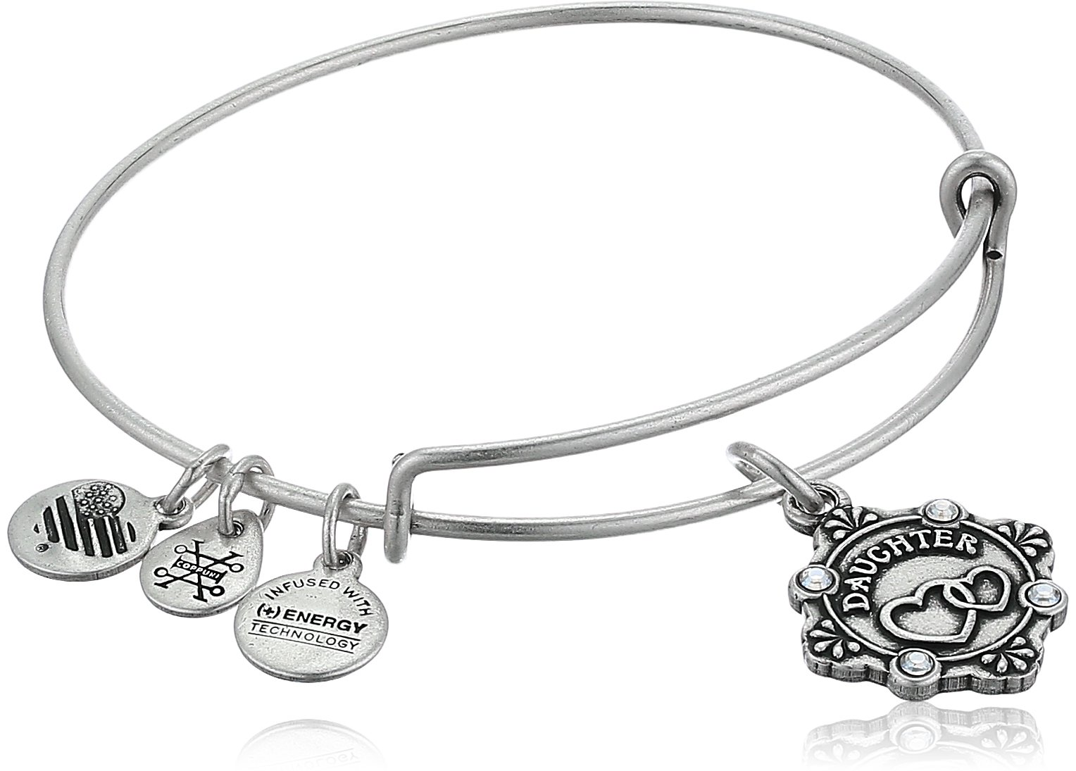 Alex and Ani Womens Because I Love you, Daughter Charm Bangle Bracelet, Rafaelian Silver, Expandable