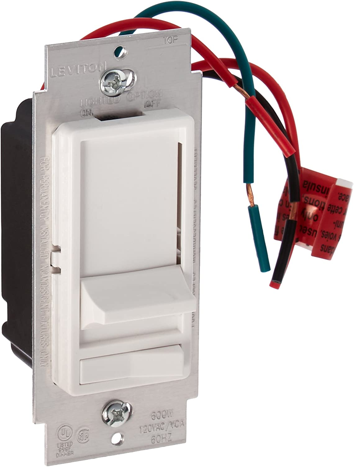 Leviton 6633 Plw Decora 3 Way Slide Dimmer With Preset Lighted Pad Option White Wall Dimmer Switches Amazon Com