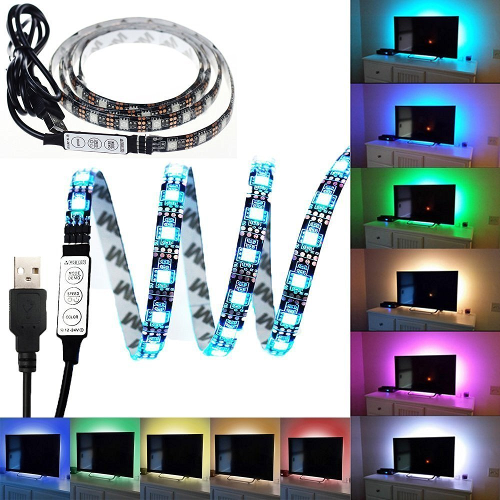LTROP LED Light Strip for TV/PC, 3.28ft Flexible Adhesive Tape Multi-color RGB 5050 USB Strip Light, 30leds TV Background Lighting Kit Bias Lighting with an 5V USB Cable with Mini Controller