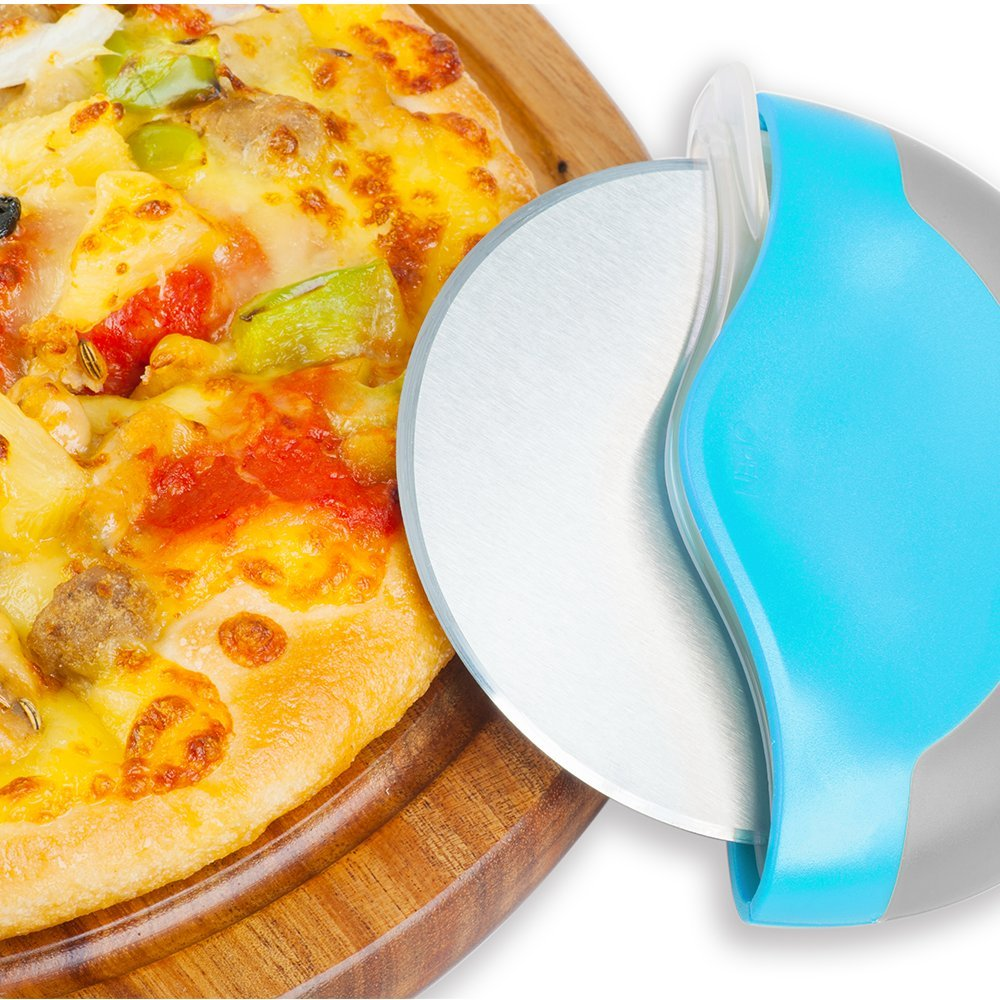 Professional Pizza Cutter Wheel Stainless Steel with Integrated Blade Guard, Super Sharp and Easy To Clean Slicer. Best Gift For Girl, Mom, Friend (blue)