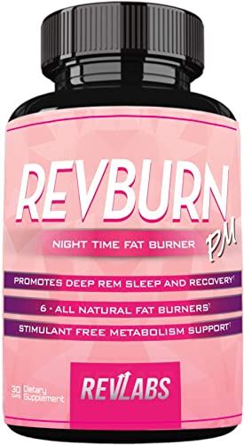 RevBurn PM Night Time Weight Loss for Her with Chamomile Appetite Suppressant – Night Time Burner Promotes Deep Rem Sleep and Recovery – Stimulant Free Metabolism Booster to Burn Fat 30 Cap