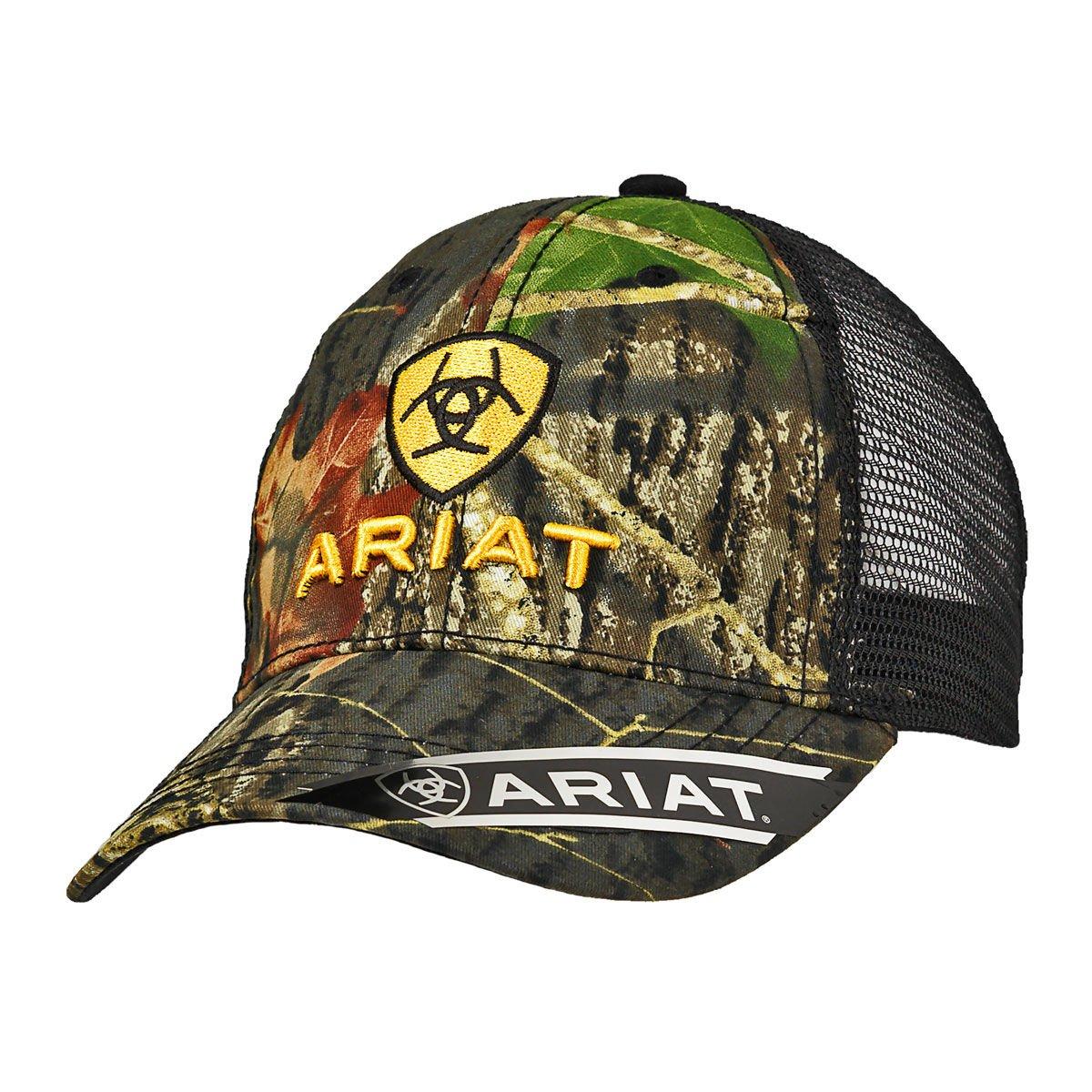 Ariat Men's Camo Front Black Mesh Hat, Green, One Size