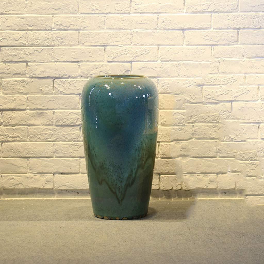 円柱装飾花瓶 HJCA高品質セラミック花瓶中国風大花瓶ドライフラワーフラワーアレンジメントリビングルームダイニングルームモデルデコレーション装飾サイズ:高50 CM *直径30 CM(エメラルドグリーン) 写真円柱装飾花瓶ライフ花瓶フラワーショップブーケボックス B07SCPBC4H