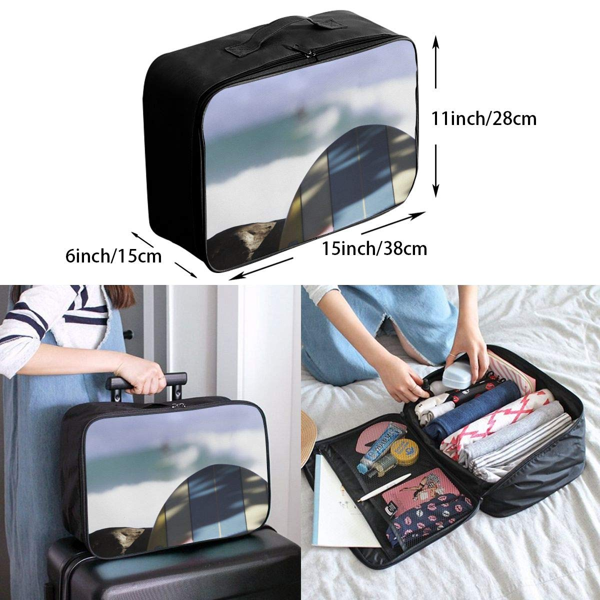 Travel Luggage Duffle Bag Lightweight Portable Handbag Surf Board Print Large Capacity Waterproof Foldable Storage Tote