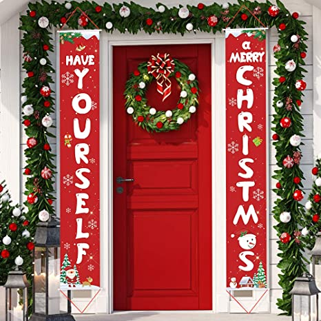 Rotes Plaid Merry Christmas Banner Happy Holidays Banner Weihnachten Veranda Seichen f/ür Haust/ür Zuhause Wand Dekoration Hongyans 3 St/ück Weihnachten Veranda Banner