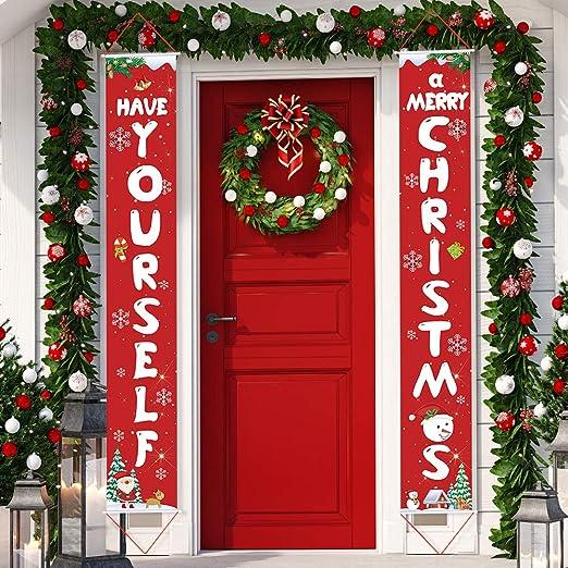 Pllieay 2 Piezas Feliz Navidad Porche Cartel Decoración de ...