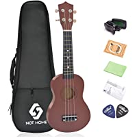 Soprano Ukulele, NOT HOME® Learn To Play Ukulele First Kit, 21'' Colorful Hawaiian Ukulele for Kids, Teenagers, Student, with a Carrying Bag and a Digital Tuner (Coffee)