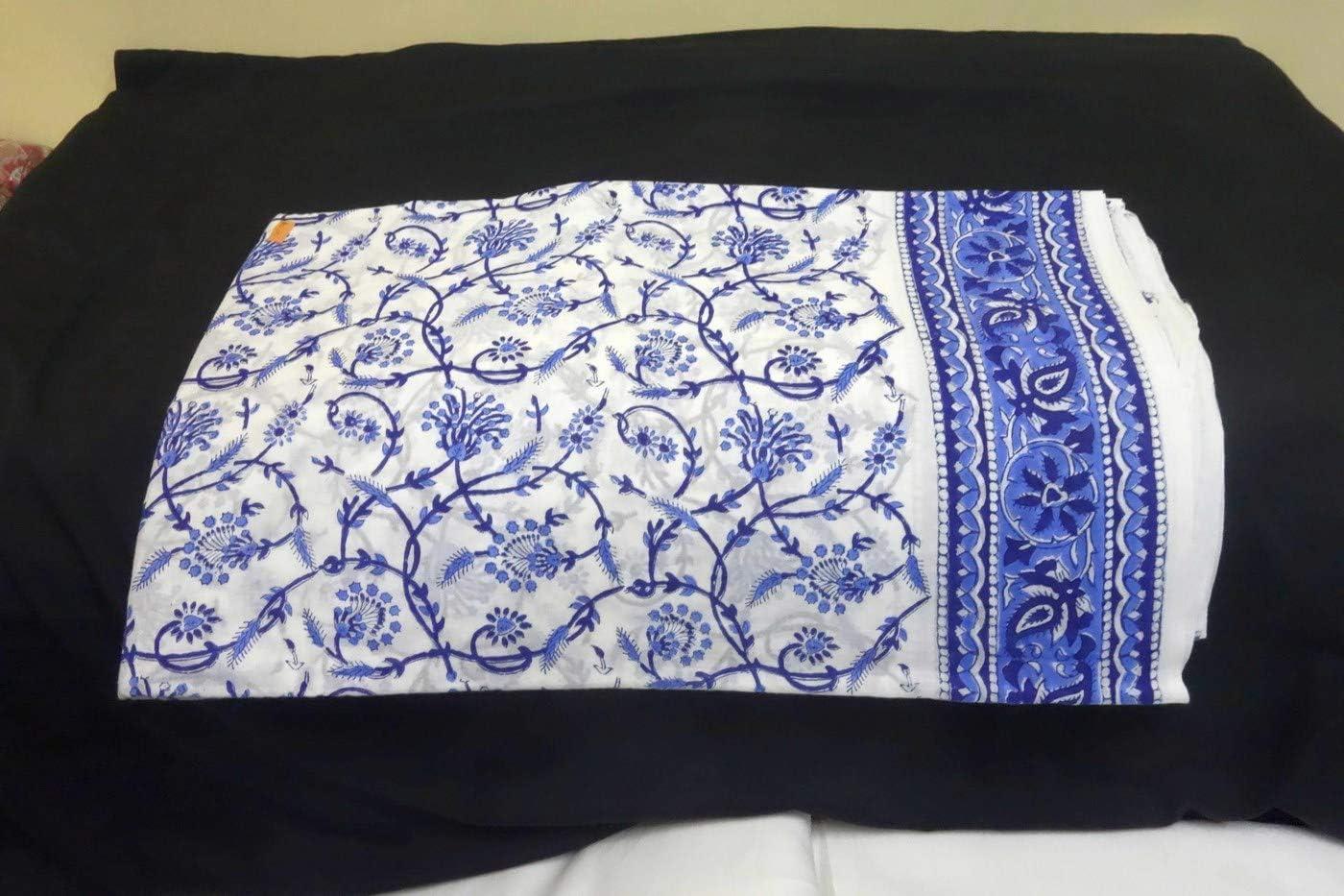 Indian Cotton 5 yard Hand Block Print Natural Running Indigo Flower Craft Fabric