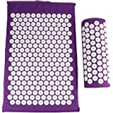 HOMYL Sponge Back Neck Massage Pad Acupressure Mat and Pillow Set Manual Massager with Carry Bag for Storage and Travel