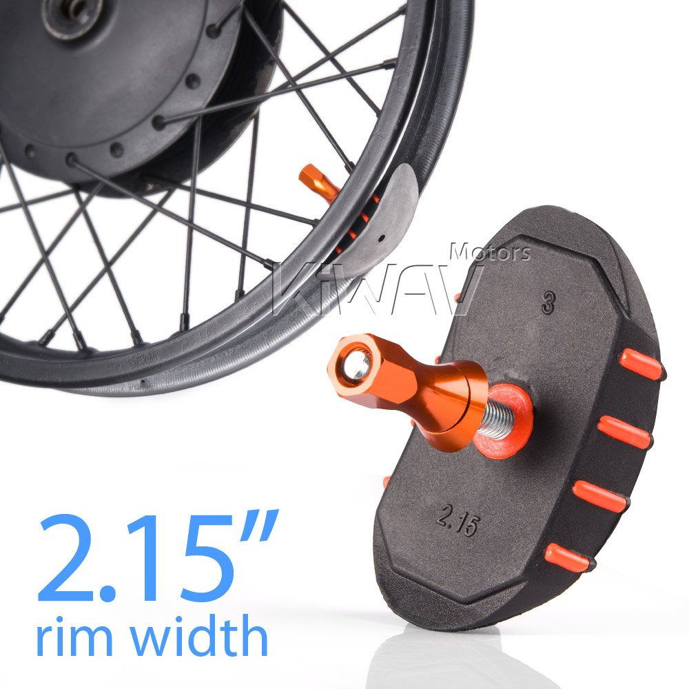 KiWAV motorcycle rim lock alloy rubber nylon for 2.15' rim orange lock nut