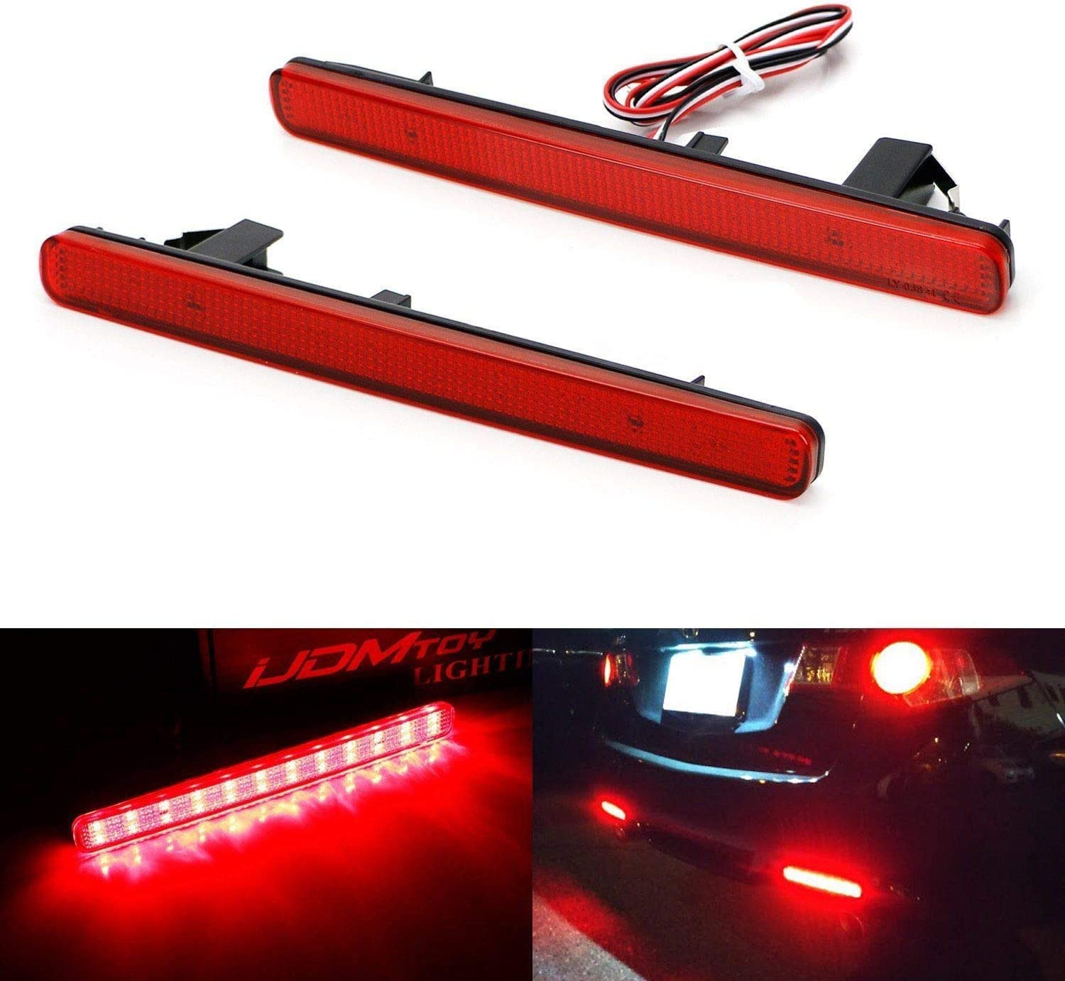 Euro Accord iJDMTOY Red Lens 48-SMD LED Bumper Reflector Lights For 09-14 Acura TSX Function as Tail Brake /& Rear Fog Lamps