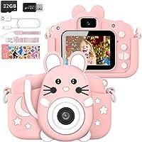 Hangrui Cámara Digital para Niños,Cámara Fotos Infantil con 32GB TF Tarjeta,Pantalla de Protección Ocular IPS de 1080P 2…
