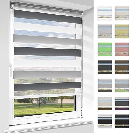 Doppelrollo Duo Zebrarollo Klemmfix ohne Bohren Fenster Tür Wand Türkis 80x150cm