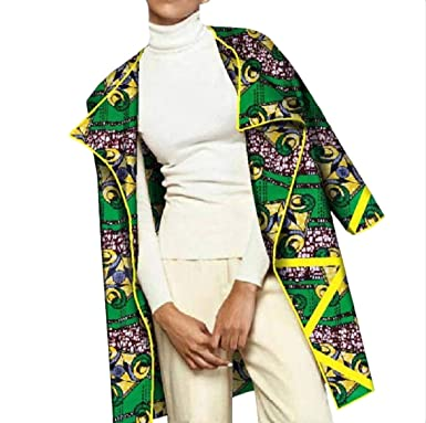 c635899748a Amazon.com  neveraway Women s African Print Dashiki Outwear Plus Size  Trench Coat  Clothing