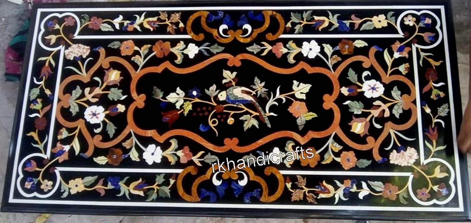 30 x 60 Inches Black Marble Rectangle Shape Conference Table Top Handmade Meeting Table with Vintage Art and Craft from India Perfect for Home Decorative Furniture