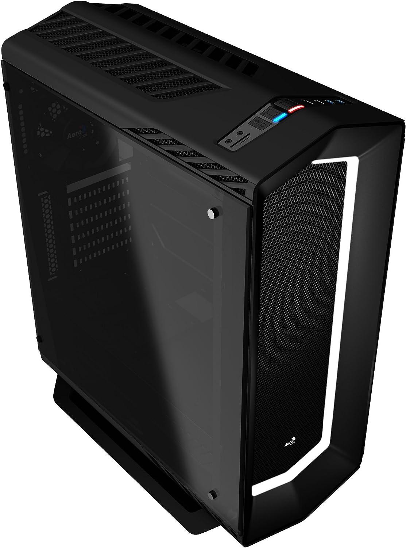 Aerocool P7C1BG - Caja gaming para PC (ATX, Semitorre, LED 8 colores, incluye ventilador trasero 12cm, ventana transparente, 7 ranuras de expansión, USB 2.0/3.0, Audio HD), negro con cristal templado