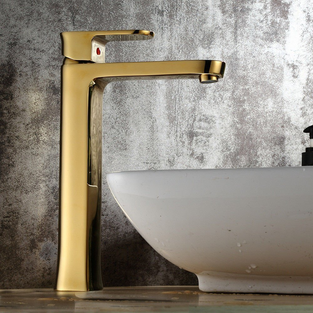 FORTR home Sink Mixer Tap Bathroom Kitchen Basin Tap Leakproof Save Water Copper Plated gold Hot And Cold Kitchen