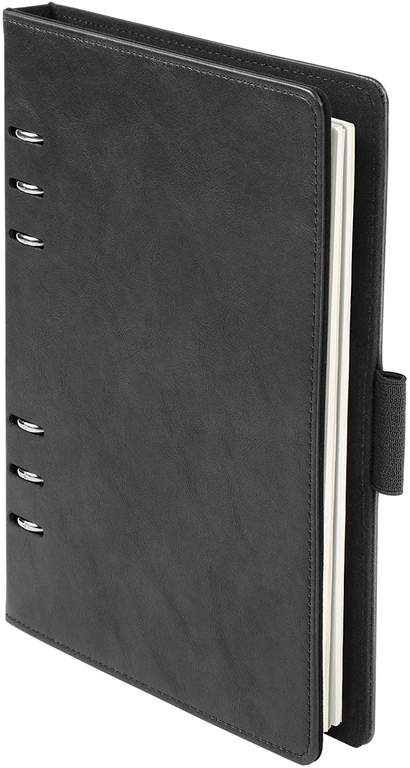 Oxford 6-Ring Professional Notebook, 7 x 9 Inch, Refillable Notebook, Ivory Paper, 100 Sheets, Black Faux Leather Cover (90004)