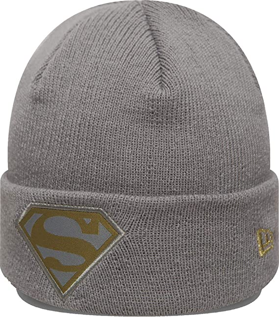 7bb0cd961bc New Era Superman Character Knit Grey Gold Youth Beanie Beany Wool Hat  Jugendliche  Amazon.co.uk  Clothing
