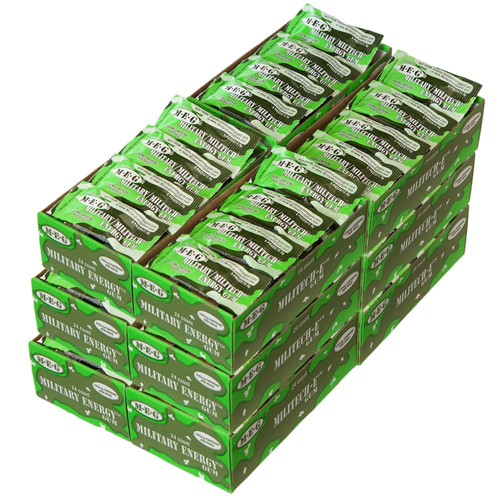 MEG - Military Energy Gum | 100mg of Caffeine Per Piece + Increase Energy + Boost Physical Performance + Spearmint (1,440 Count)