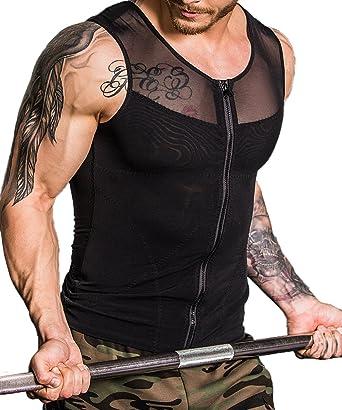 afd7b89386 Shaxea Original Zipper Men s Strong Compression Shirt to Hide Gynecomastia  Body Shaper Chest Slimming Body Shaper
