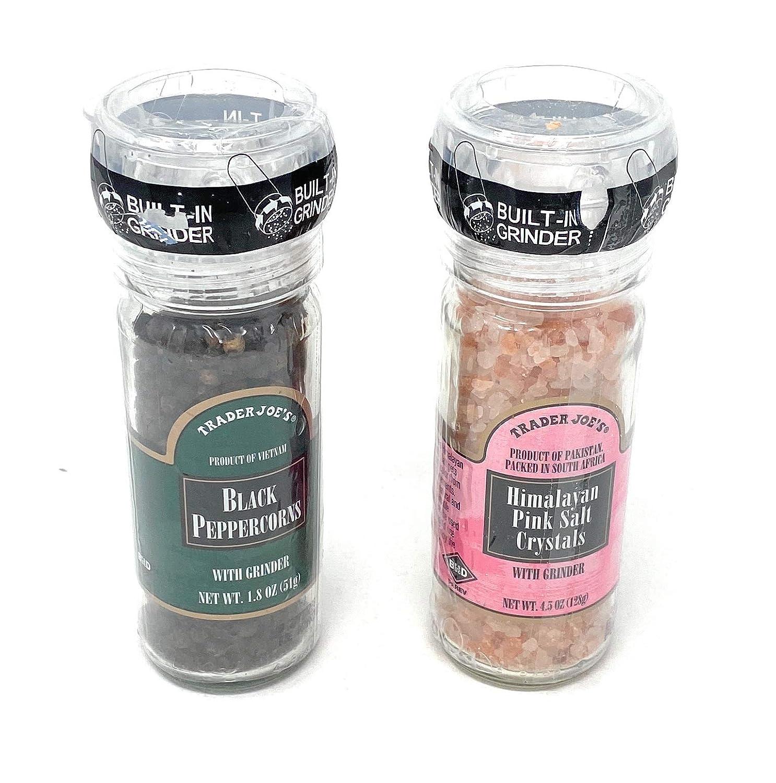 Trader Joe's Pink Salt and Black Pepper Grinder Set - Black Peppercorns and Pink Himalayan Salt Crystal