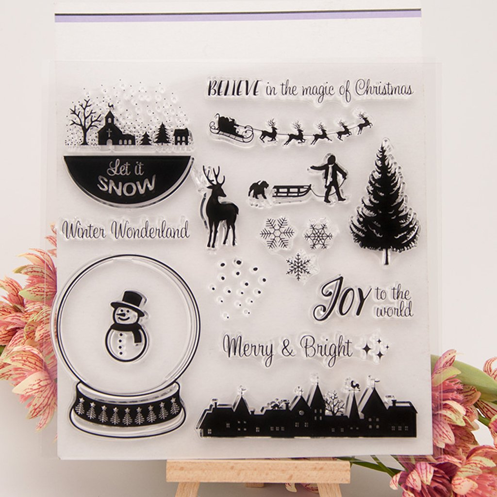 Hijing Christmas Transparent Silicone Clear Rubber Stamp Sheet Cling Scrapbooking DIY