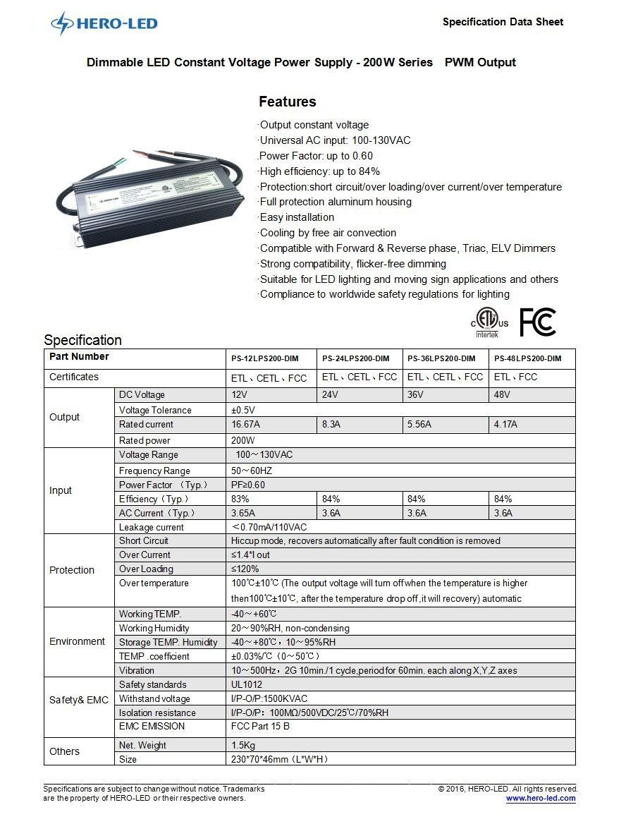2.5A Dimmble LED Transformer 12V DC 30W HERO-LED PS-12LPS30-DIM ETL-listed Dimmable LED Constant Voltage Power Supply