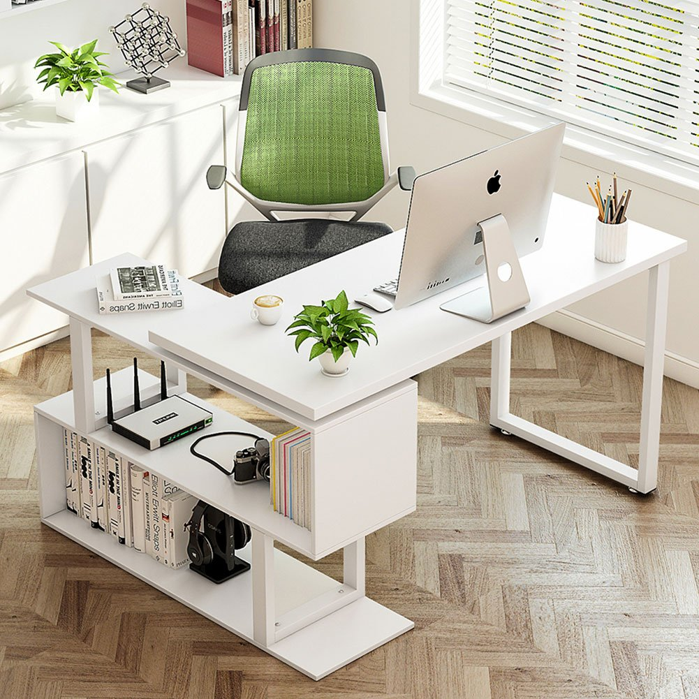 "Tribesigns Modern L-Shaped Desk, 55"" Rotating Desk Corner Computer Office Desk Study Writing Table Workstation with Shelves for Home Office, White HOGA-0988-1"