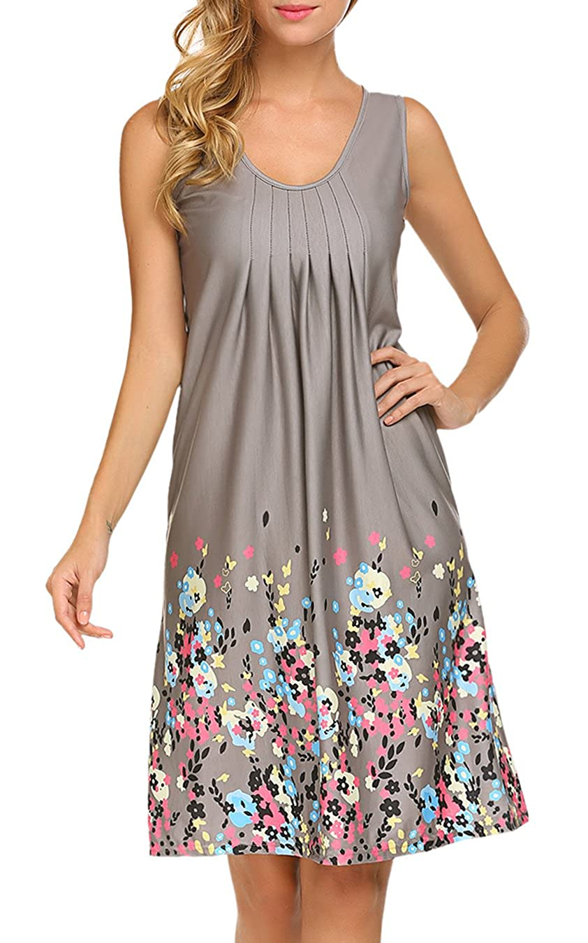 2722311808 LuckyMore Womens Sundresses Floral T-Shirt Dress Summer Beach Sleeveless  Tank Dress at Amazon Women s Clothing store
